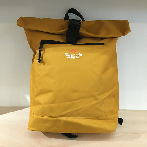 Recycled Roll Top Rucksack - Mustard Yellow