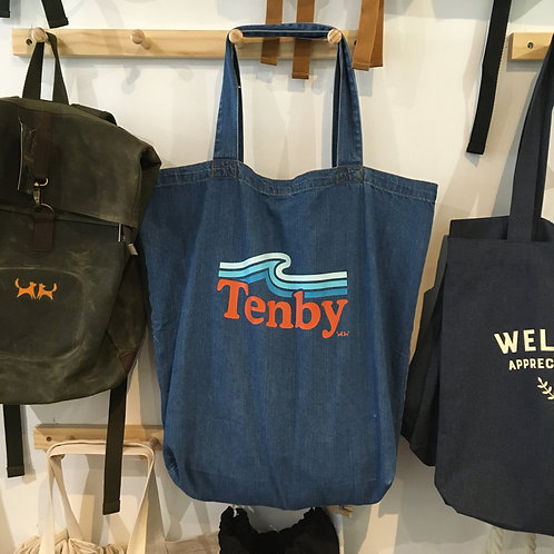 Tenby Wave Denim Tote Bag