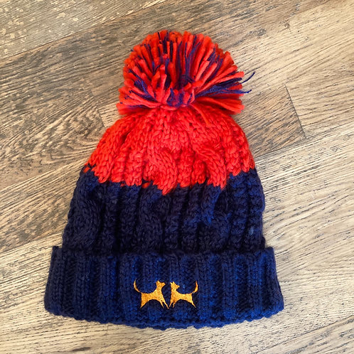 Colour Block Bobble Hat - Navy & Red