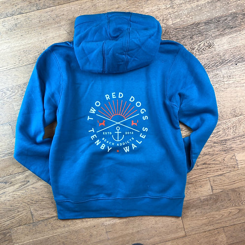 Two Red Dogs Beach Addicts Zip Hoodie - Caribbean