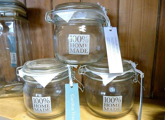 """Glass Storage Jars """"100% Homemade"""""""