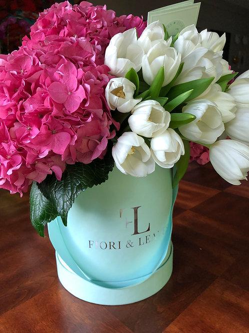 Classic Pink & White! Hydrangeas & Tulips