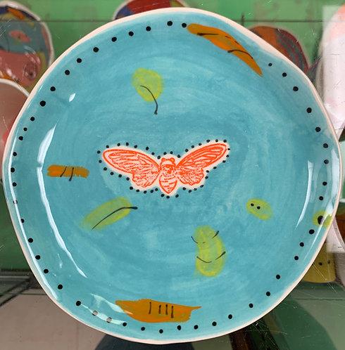 Aqua Dessert Plate with Bee