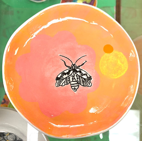 Orange and Pink Dessert Plate with Black Moth (B)