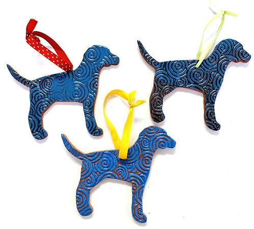Ceramic Black and Blue Dog Ornament