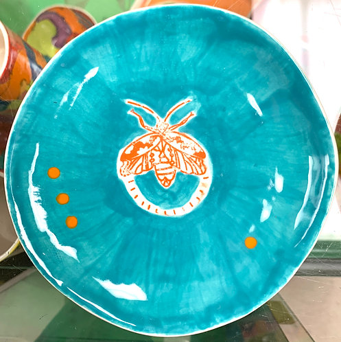 Aqua Dessert Plate with Orange Moth