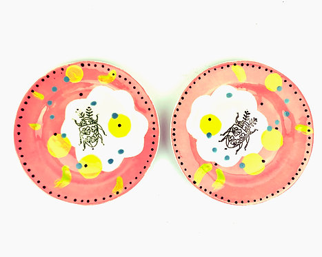 Coral Pink Side Plates-Set of 2