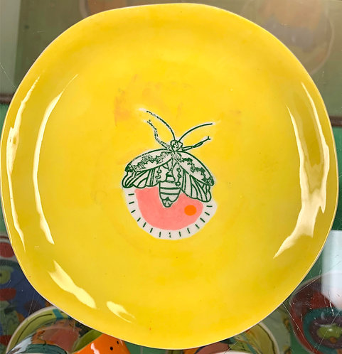 Yellow Dessert Plate with Green Moth