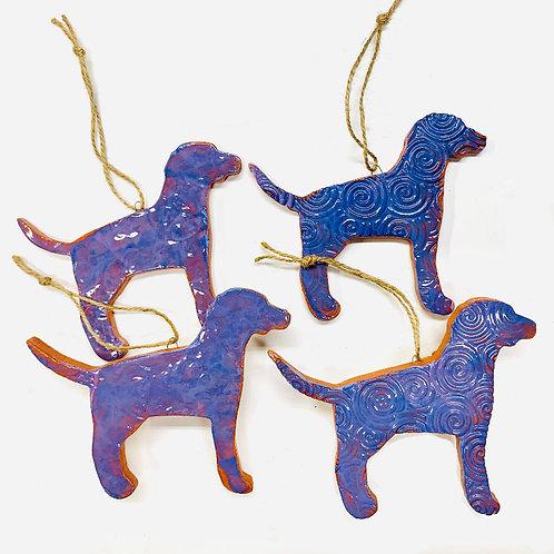 Purple Ceramic Dog Ornament