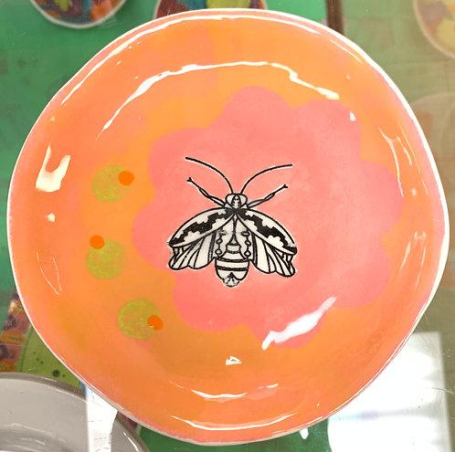 Orange and Pink Dessert Plate with Black Moth