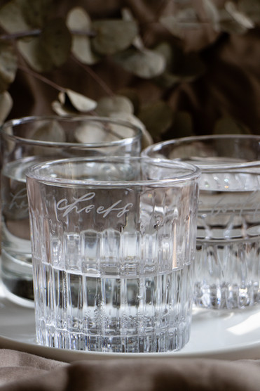(Left to right) Lara Engraved Glass, Lorelle Engraved Glass, Lynn Engraved Glass
