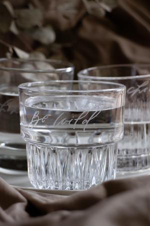 (Left to right) Lara Engraved Glass, Lynn Engraved Glass, Lorelle Engraved Glass