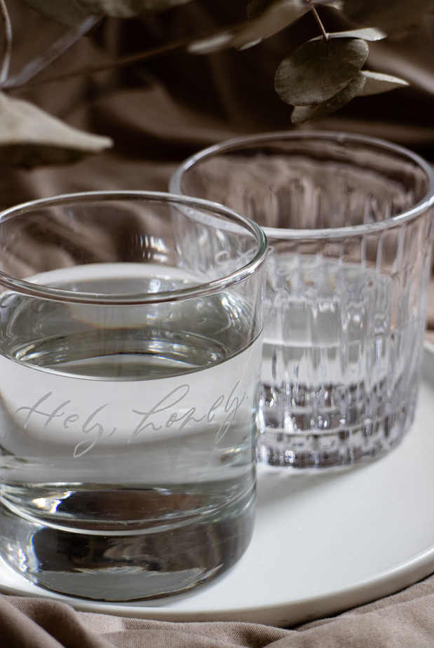 (Left to right) Lara Engraved Glass, Lorelle Engraved Glass