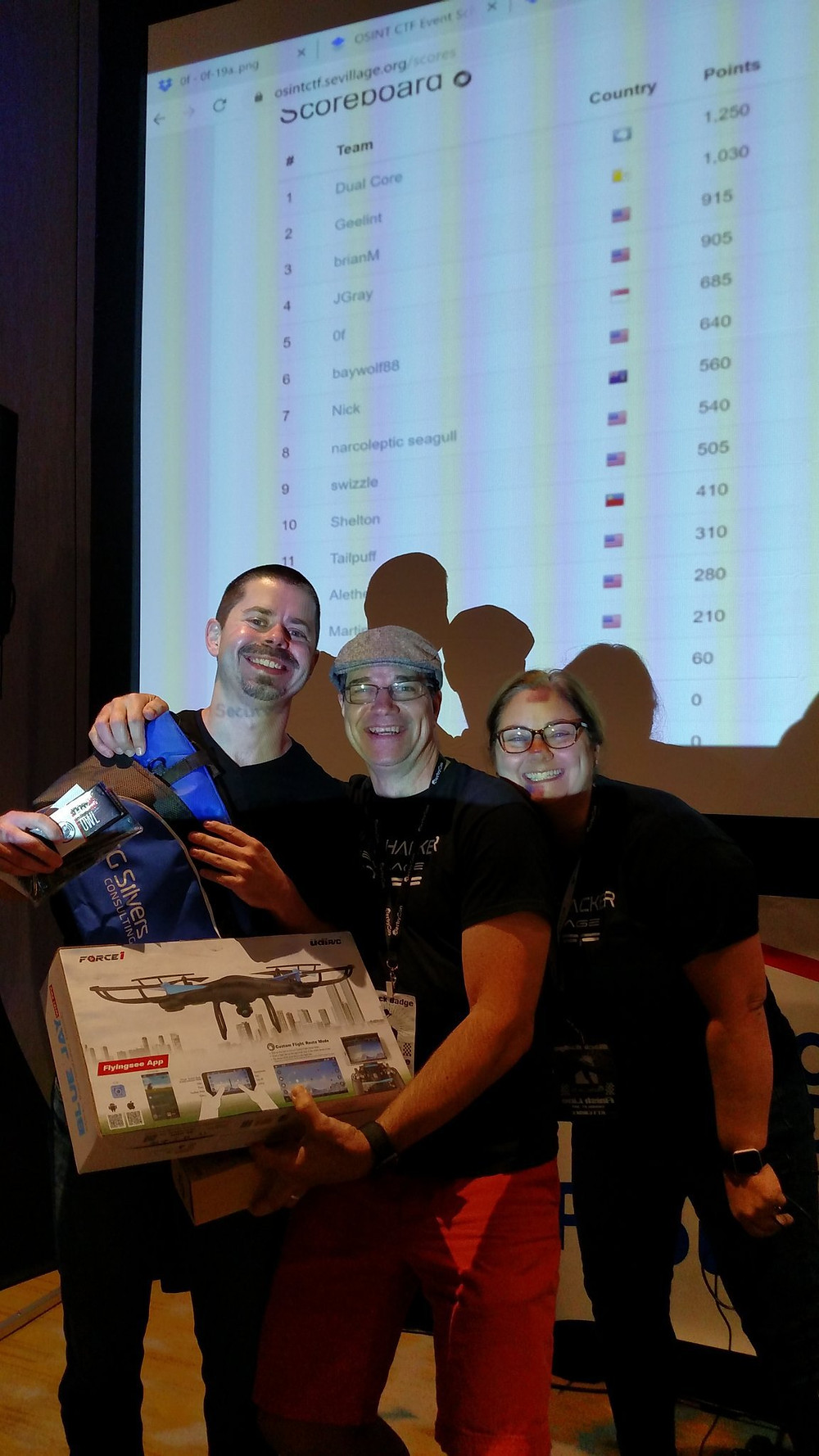 All the swag! Chris and Kris Silvers with OSINT CTF winner Dual Core