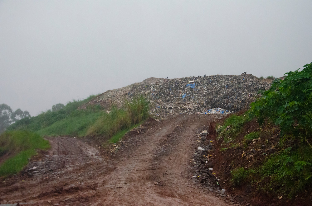 Urubus repousam no topo de uma pilha de rejeitos, em meio à chuva