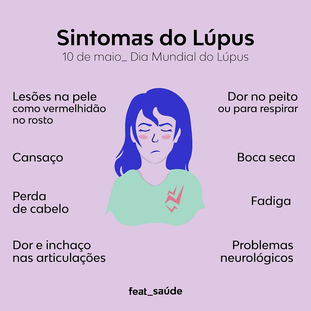 A ilustração mostra a menina e descreve os sintomas do lúpus.
