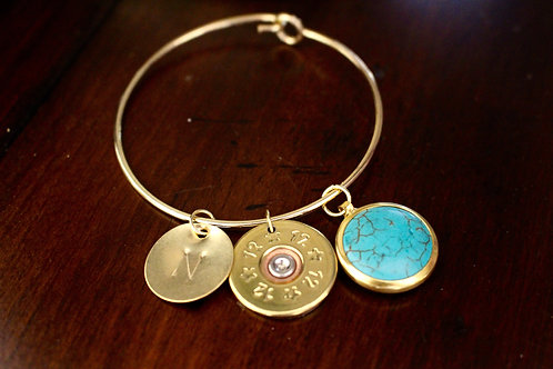 Shotgun Shell Bangle Large Initial