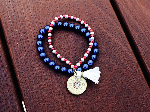 Red, White and Blue Pearl Bracelet