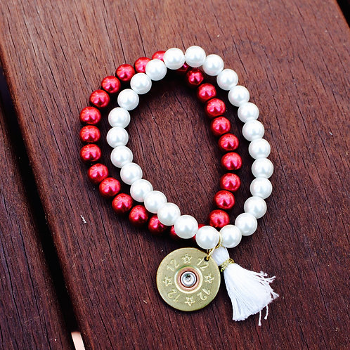 Red and White Pearl Stacked Bracelet