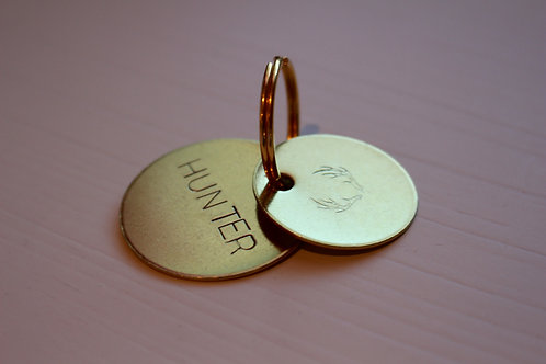 Hand Stamped Brass Keychain: Hunter