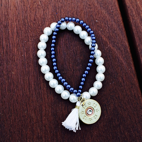 White and Blue Pearl Stacked Bracelet