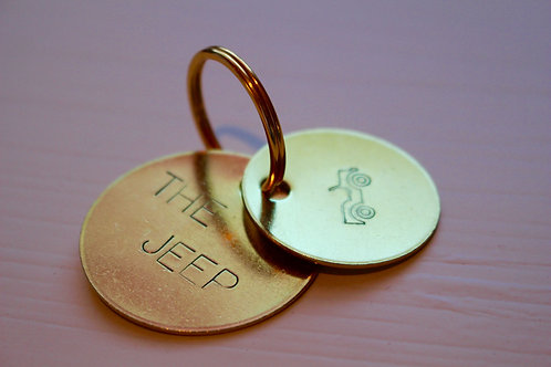 Hand Stamped Brass Keychain: The Jeep