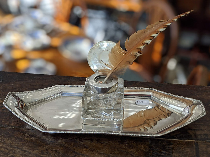 Silver Desk Companion with Glass Inkwell
