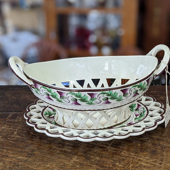 Newcastle Creamware Basket and Under Tray English Georgian 1800-1810 by Sewell