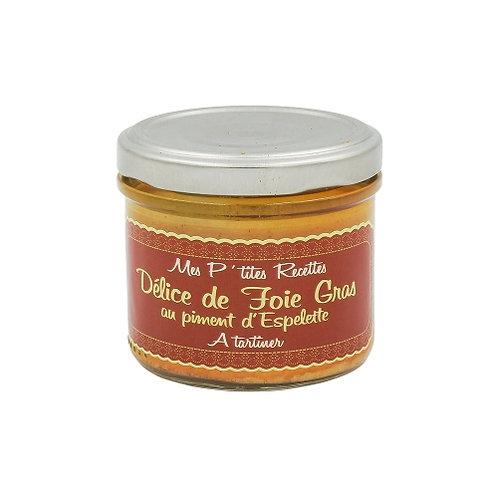 Délice de foie gras au piment d'Espelette. pot 100g