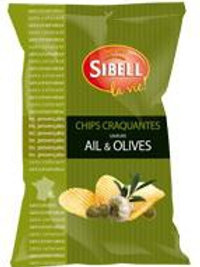 Chips ondulées ail & olives paquet 120g Sibell