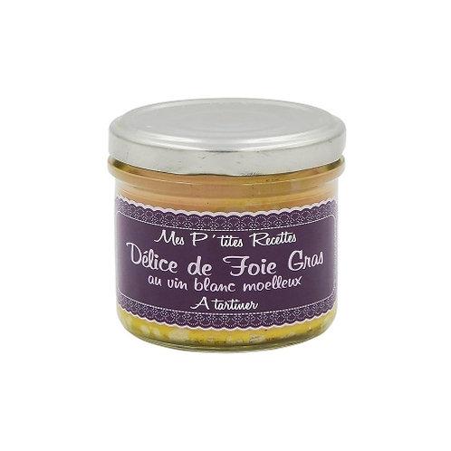 Délice de foie gras au vin blanc moelleux. pot 100g