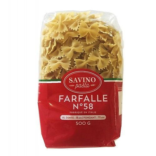 Pâtes Farfalle n°58 pqt 500g Savino Pasta