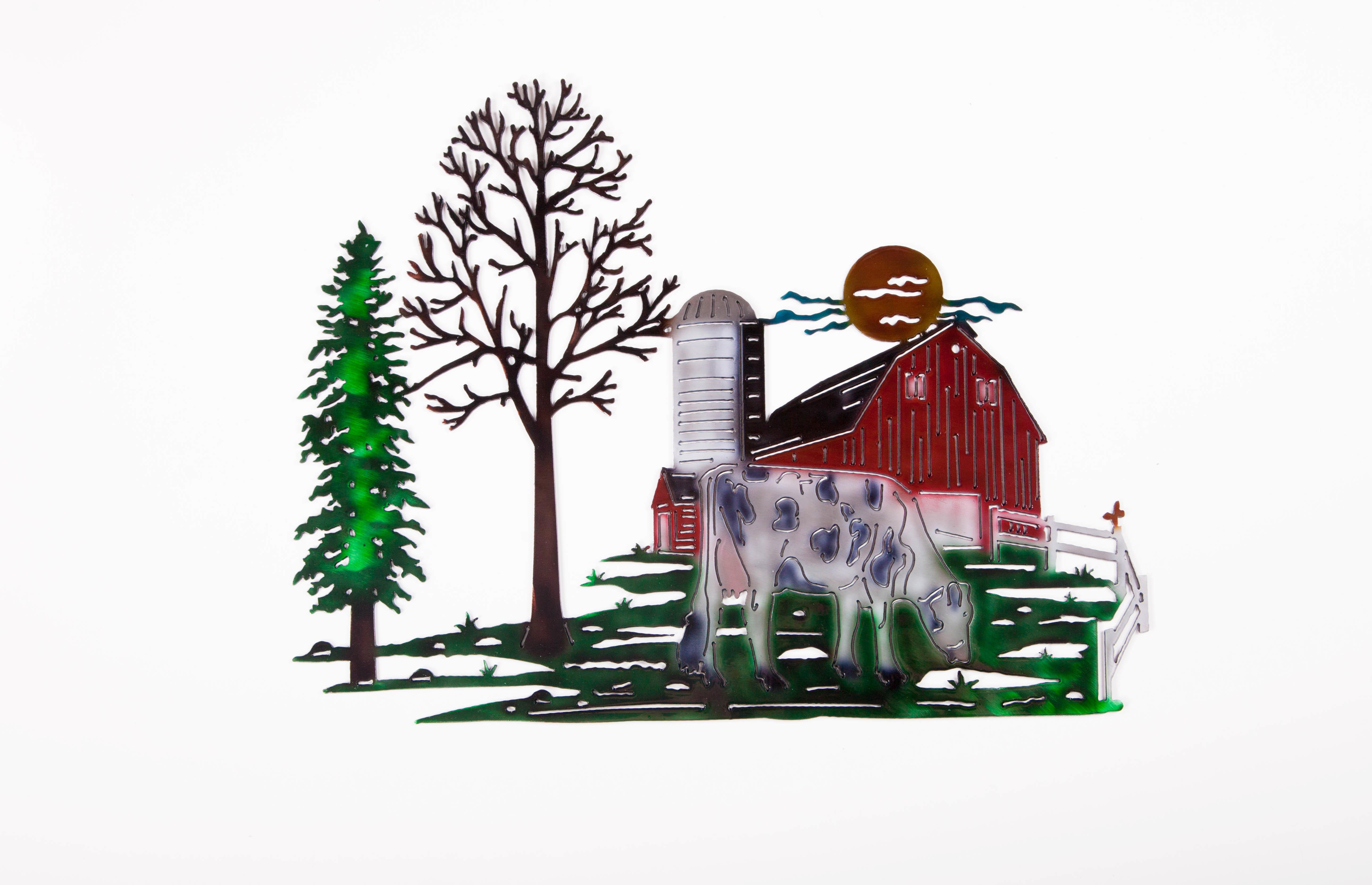 Cow Farm Scene (White)