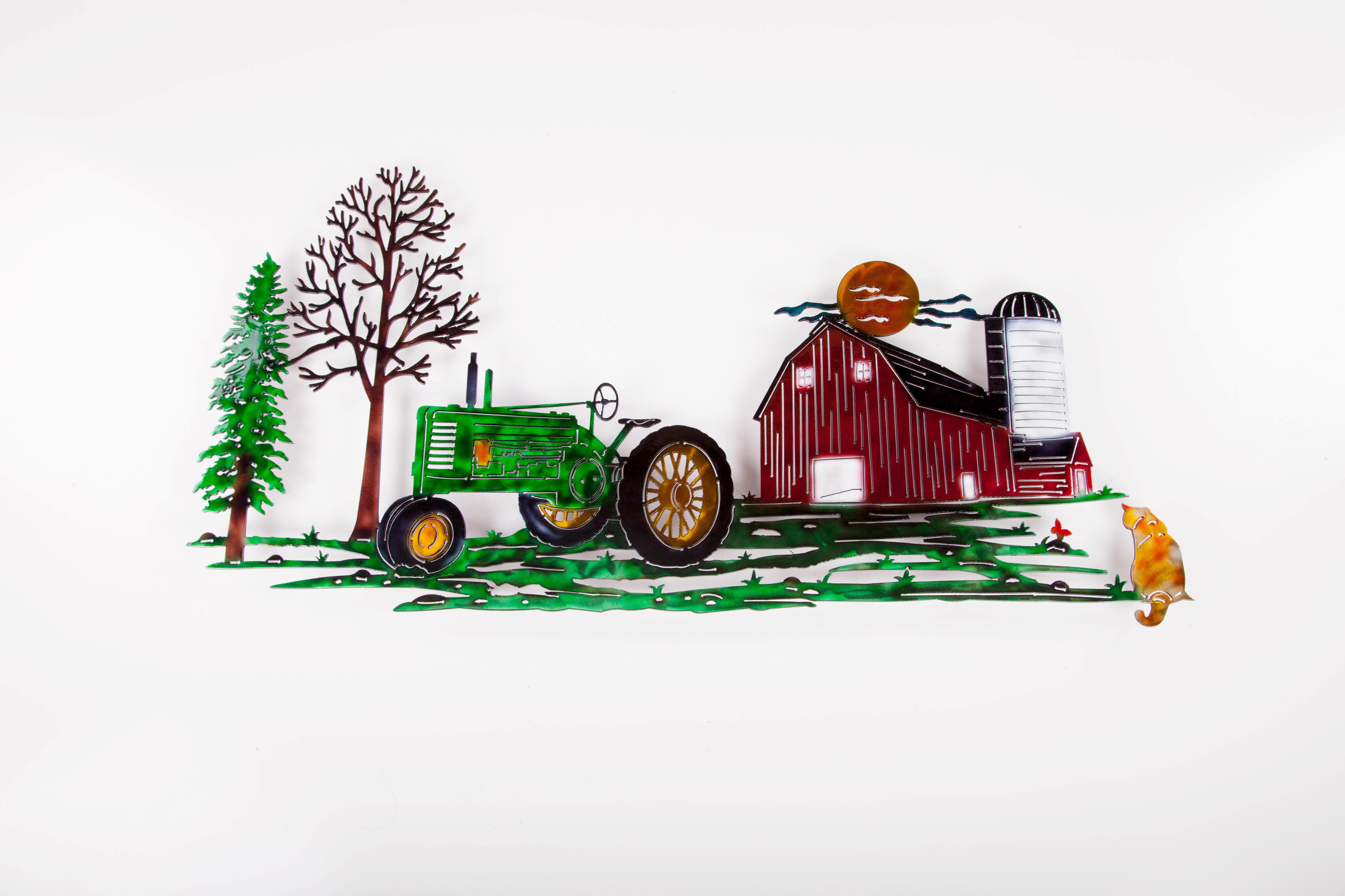 Tractor Scene - Green w/ Cat