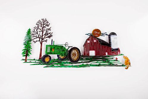 Green Tractor Scene w/ Cat