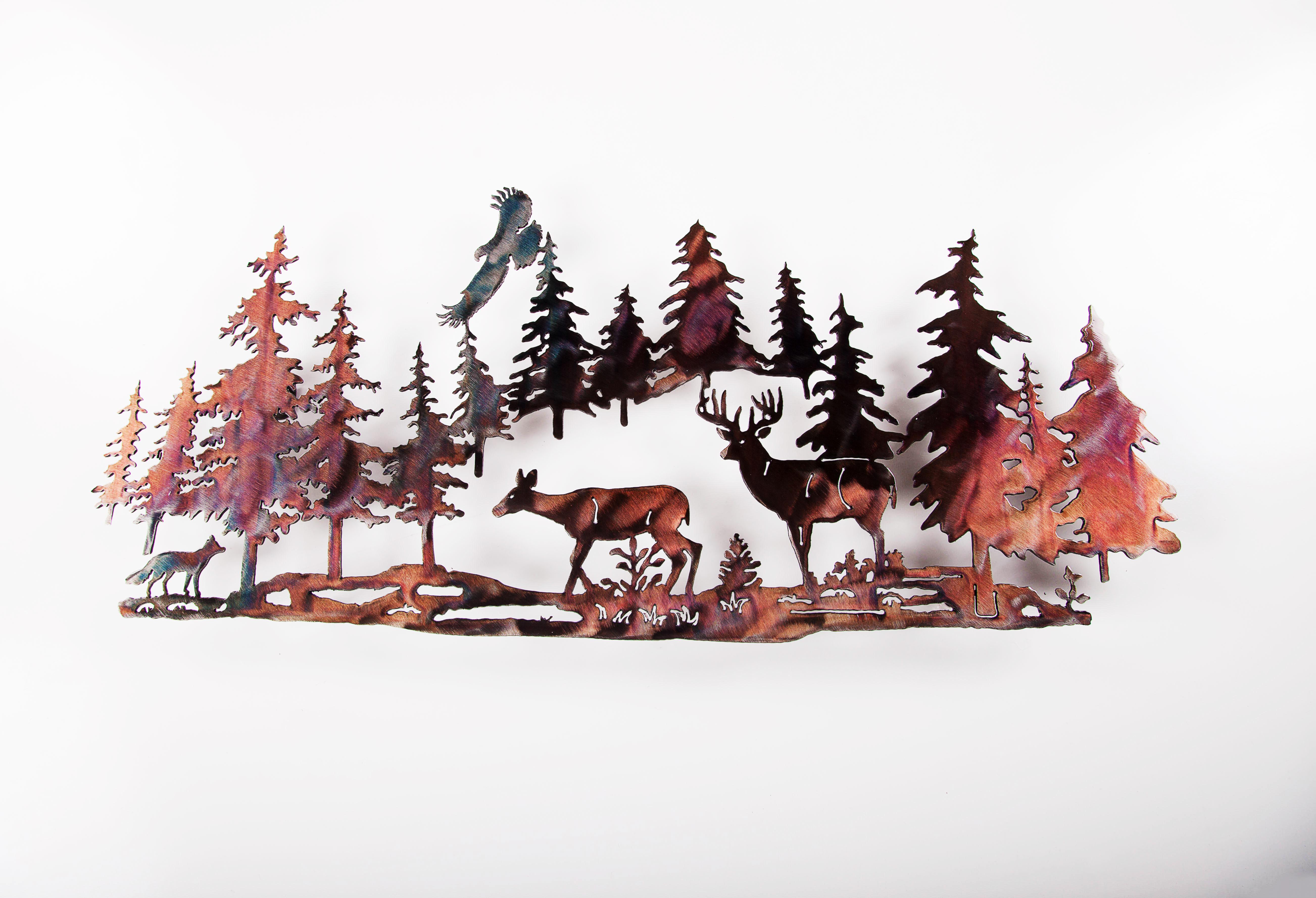 Deer w/ Fox in Pines (P)