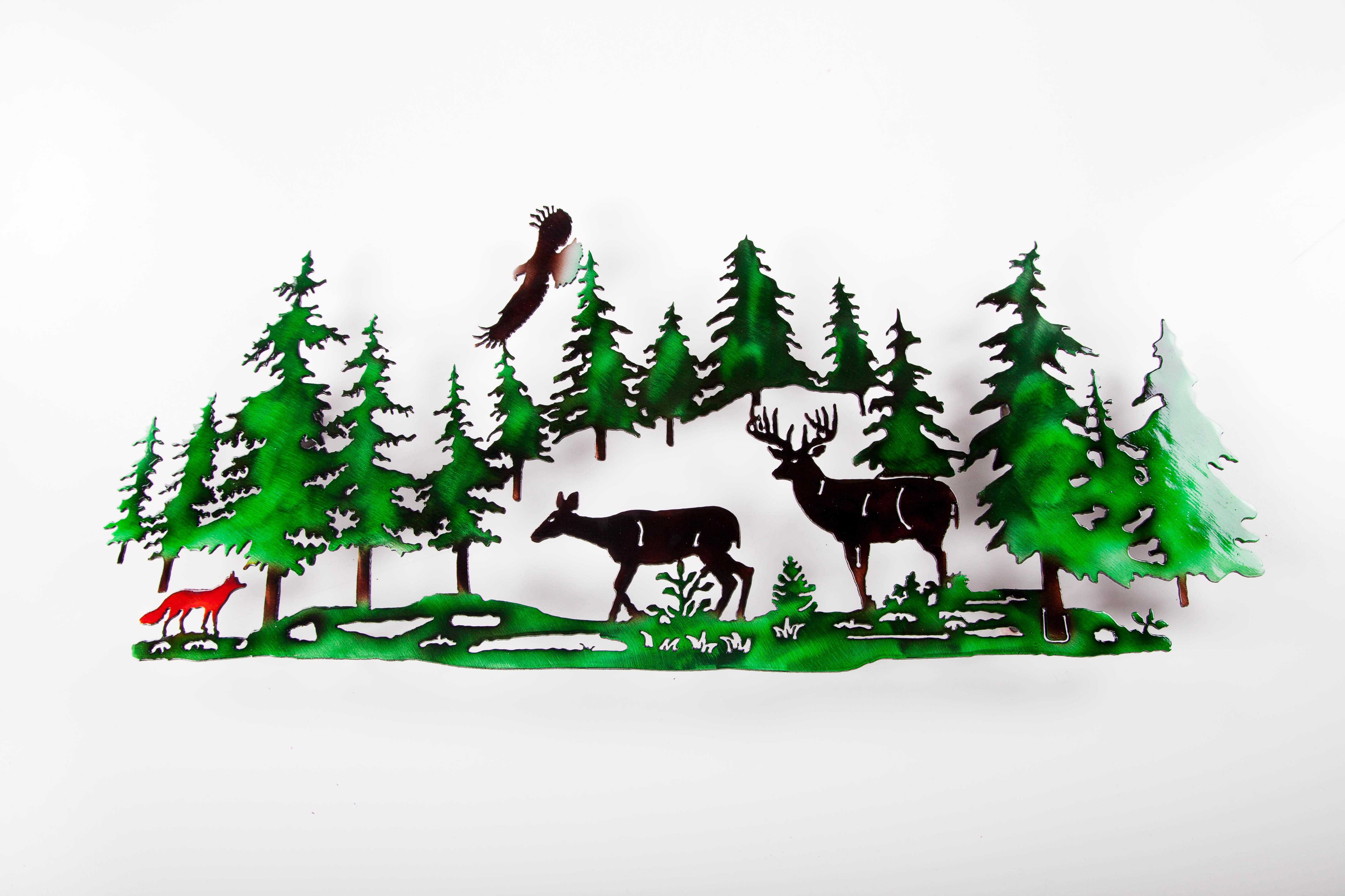Deer w/ Fox in Pines (C)