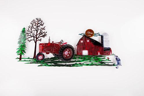 Red Tractor Farm Scene w/ Cat