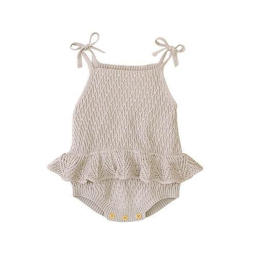 knit romper 12-18 maanden taupe