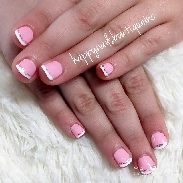 Little miss Amanda got dolled up today at our salon! 💅🏻💅🏻💅🏻 sweet pink French manicure for suc