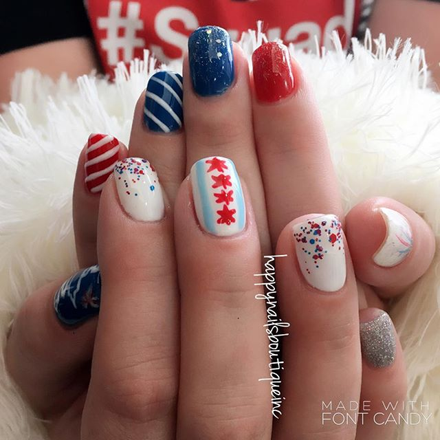 Let the #celebration begin!!🎉🎉🎉❤️💙 #IndependenceDay #2017 #312food #notd #nails #nailart #nailsm