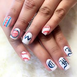 #postseason ready! ⚾️🐻#chicago #chicagocubs #cubs #baseball #season #nails #nailart ##flythew #nail