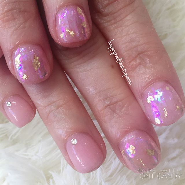 #foil galore!!! #gold #pink #metalic #rhinestones #dippingpowder #dippowder #dippowdernails #nails #