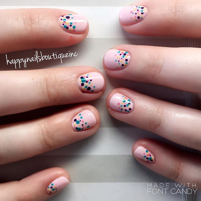 Can #spring be any cuter__!!💅🏻🌸💕🌷 #gelcolors #gelnails #HNB #pink #nailart #naildesign #polkado