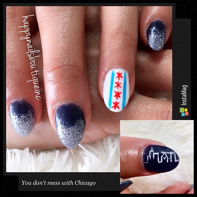 You don't mess with #Chicago ! ❤️💙 #chicagonails #HNB #handpanted #freehanddesign #chitown #lakevie