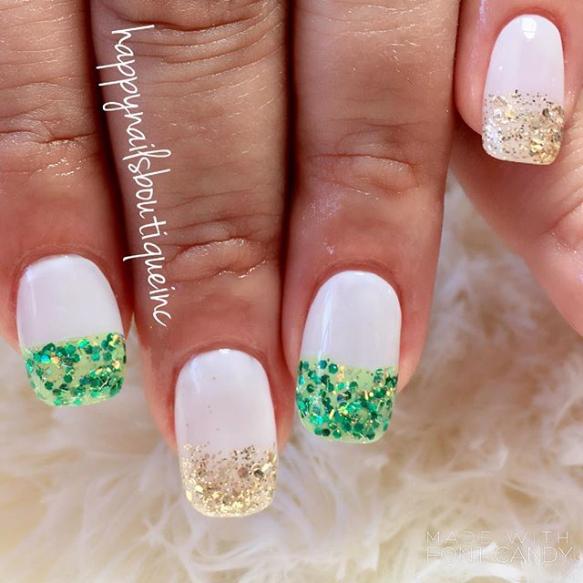 #StPatrcksDay #nails done right! 🍀💚✨ #sparkle #french #gold #shiny #acrylic #nailsmagazine #312foo