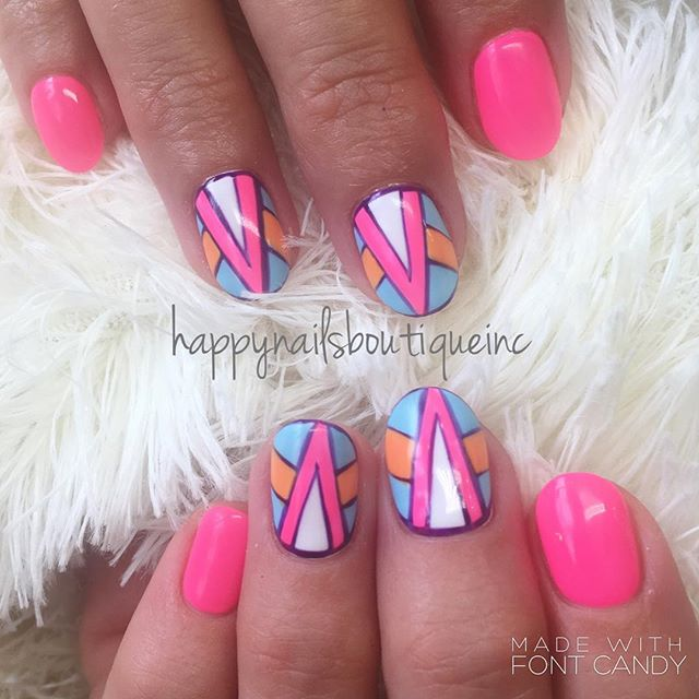 Always an #80s baby at ❤️! 😉💅🏻 #popcolors #love #gelnails #gelcolor #beautiful #312food #nailsmag