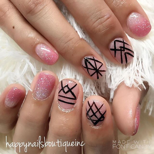 Who said #dippowder is boring_ #notd #lines #sparkles #pink #naturalnailsgoal #HNB #Chicago #Chitown