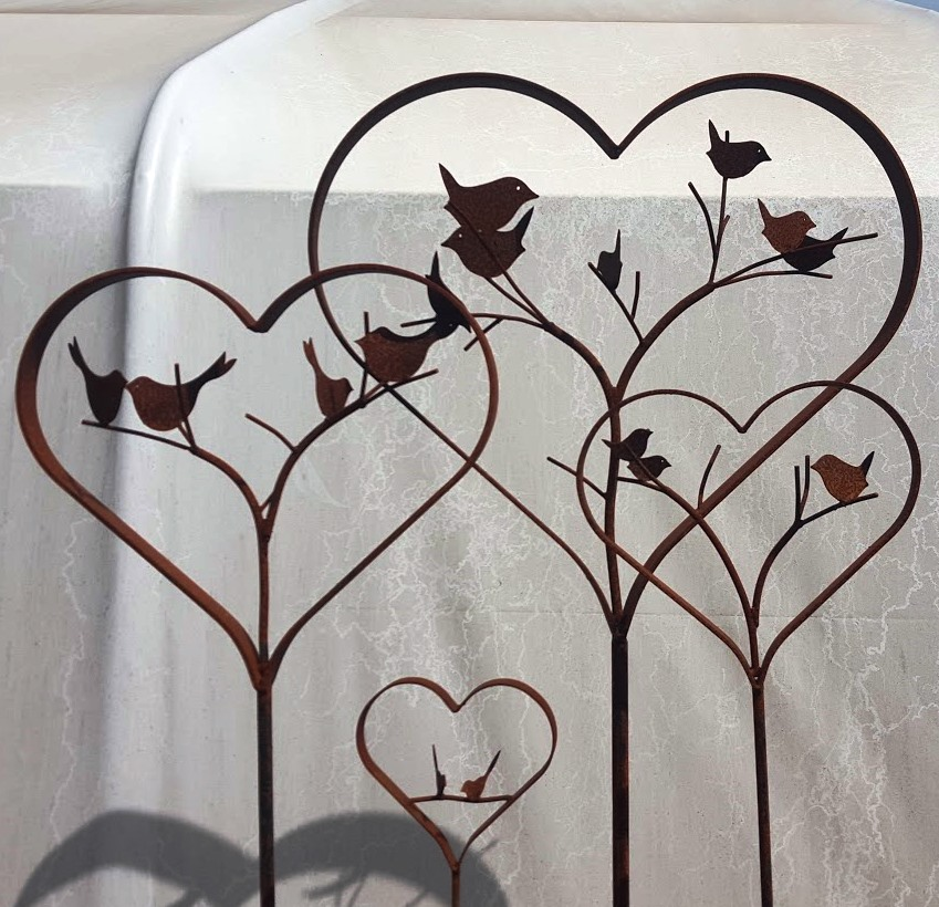 Rusty Hearts with Birds 4 sizes