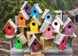 Large Angled Painted Birdhouses